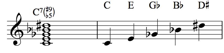 C7♭5♯9: C–E–G♭–B♭–D♯