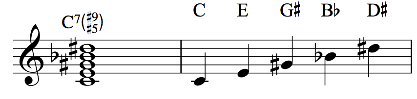C7♯5♯9: C–E–G♯–B♭–D♯
