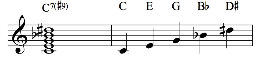 C7♯9: C–E–G–B♭–D♯
