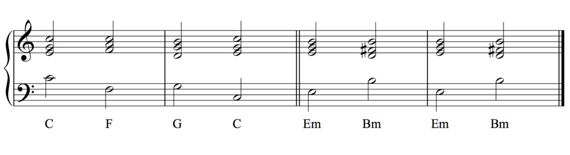 piano modulation C-F-G-C-Em-Bm-Em-Bm
