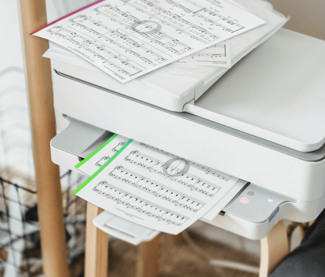 a printer printing sheet music